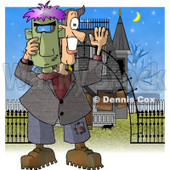 Smiling Man Holding a Halloween Frankenstein Mask In Front of a Haunted House Clipart Illustration © Dennis Cox #5717