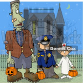 Halloween Frankenstein, Detective, and Doctor Clipart Illustration © Dennis Cox #5718