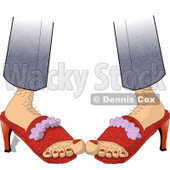 Hairy Woman Wearing Red High-heeled Shoes Clipart Illustration © djart #5719