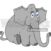 Young Female Elephant Sitting On the Ground Clipart Illustration © djart #5736
