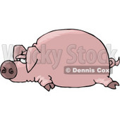 Fat Pink Pig Laying On the Ground Clipart Illustration © djart #5737