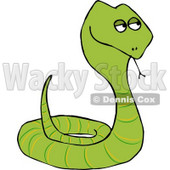 Coiled Up Viper Snake Sticking Tongue Out Clipart Illustration © Dennis Cox #5742