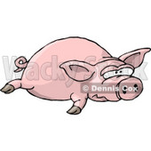 Big Fat Pig Laying On the Ground Clipart Illustration © Dennis Cox #5744