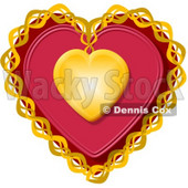 Decorative Red Valentine Heart with Gold Trim Clipart Illustration © Dennis Cox #5746