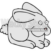 Alert Gray Bunny with a Puffy Tail and Pink Nose Clipart Illustration © djart #5749