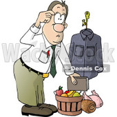 Businessman Bringing Christmas Food Gifts Home Clipart Illustration © djart #5820