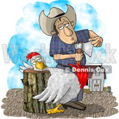 Farmer Getting Ready to Butcher a Chicken Clipart Illustration © Dennis Cox #5821