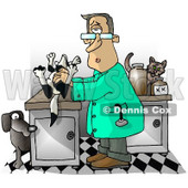 Male Veterinarian Handling a Dead Dog On a Table Clipart Illustration © djart #5822