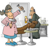 Scared Man Leaving Female Hygienist's Old Fashioned Dental Room Clipart Illustration © djart #5823