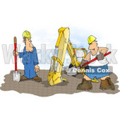 Funny Construction Worker Man Wearing Boxer Shorts While Working Beside an Excavator Clipart Illustration © djart #5825