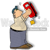 Man Checking the Bottom of a Standard Handheld Fire Extinguisher Clipart Illustration © Dennis Cox #5827