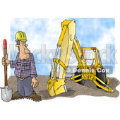 Construction Worker Standing Beside an Excavator with a Shovel Clipart Illustration © Dennis Cox #5828