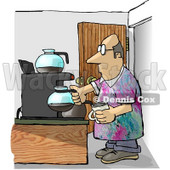 Male Worker Getting a Cup of Coffee During His Break On Casual Friday Clipart Illustration © Dennis Cox #5829