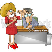 Annoyed Businessman with a Stupid Secretary Counting Her Fingers Clipart Illustration © djart #5830
