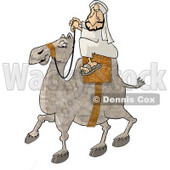 Middle Eastern Arab Man Riding a Camel Through a Desert Clipart Illustration © djart #5832