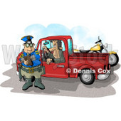 Pulled Over Man in a Truck Watching a Cop Writing a Speeding Ticket Clipart Illustration © djart #5833