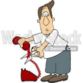 Angry Man Cutting the Phone Cord Clipart Picture © djart #5905