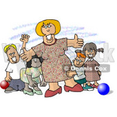 Happy Woman Standing with Children at a Daycare Clipart Picture © djart #5907