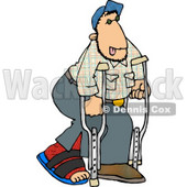 Injured Man Walking On Crutches with a Broken Leg Clipart Picture © djart #5909
