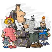 Divorced Dad Reading Newspaper Beside His Kids Clipart Picture © djart #5910