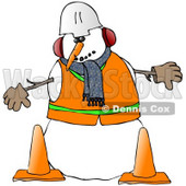Royalty-Free (RF) Clipart Illustration of a Construction Worker Snowman In Warm Clothes And A Hard Hat, Standing Behind Cones © Dennis Cox #59110
