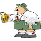 Royalty-Free (RF) Clipart Illustration of an Oktoberfest Man Holding An Overflowing Beer Mug © djart #59113