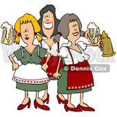 Royalty-Free (RF) Clipart Illustration of a Group Of Three Oktoberfest Ladies With Beer © Dennis Cox #59115