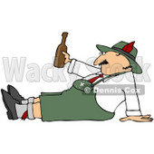 Royalty-Free (RF) Clipart Illustration of an Oktoberfest Man Sitting On The Ground, Holding A Beer Bottle © djart #59116