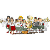 Royalty-Free (RF) Clipart Illustration of a Festive Oktoberfest Band Playing Live Music © Dennis Cox #59119
