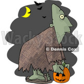 Halloween Ghoul Picking Up a Jack-o-Lantern at Night Clipart Picture © djart #5912