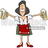 Royalty-Free (RF) Clipart Illustration of a Friendly Oktoberfest Woman Holding Out Two Beer Mugs © Dennis Cox #59121