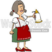 Royalty-Free (RF) Clipart Illustration of a Friendly Oktoberfest Woman Holding Out A White Beer Stein © Dennis Cox #59122
