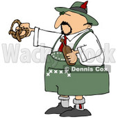Royalty-Free (RF) Clipart Illustration of an Oktoberfest Man Holding A Beer Bottle And Soft Pretzel © djart #59123