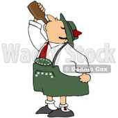 Royalty-Free (RF) Clipart Illustration of an Oktoberfest Man Guzzling Beer From A Brown Bottle © Dennis Cox #59124