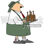 Royalty-Free (RF) Clipart Illustration of an Oktoberfest Man Carrying Brown Beer Bottles On A Tray © Dennis Cox #59125