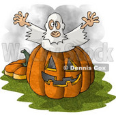 Halloween Ghost Man Jumping Out of a Pumpkin Clipart Picture © Dennis Cox #5913