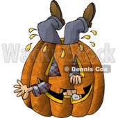 Man Stuck Inside a Big Halloween Pumpkin with a Carved Face Clipart Picture © Dennis Cox #5915