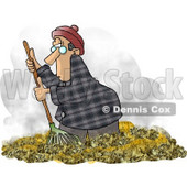 Man Raking Dead Leaves On the Ground During Autumn Season Clipart Picture © djart #5917