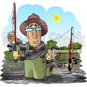 Grandpa & Grandson Fishing in a River On a Sunny Day Clipart Picture © djart #5918