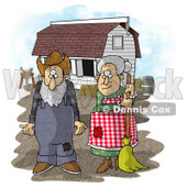 Farmer Wife and Husband Standing In Front of a Barn Clipart Picture © djart #5919