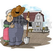 Sad Farmer Wife Hugging Her Husband Who Is Looking at Their Barn Clipart Picture © Dennis Cox #5922
