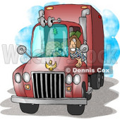 Female Trucker Driving an 18-Wheeler Big Rig Clipart Picture © Dennis Cox #5923