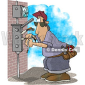 Electrician Wiring a Brick Building Clipart Picture © djart #5927