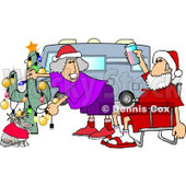 Mr. and Mrs. Clause Celebrating Christmas on the Road With Their Dog Clipart Picture © Dennis Cox #5930