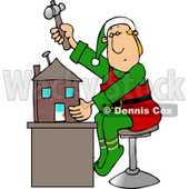 Christmas Elf Building a Toy House Clipart Picture © djart #5931