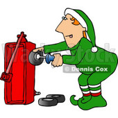 Santa's Elf Building a Radio Flyer Wagon Toy Clipart Picture © Dennis Cox #5935