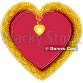 Red Heart Decorated with Gold Trim Clipart Picture © Dennis Cox #5936