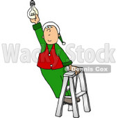 Santa's Elf Screwing In a Light Bulb Clipart Picture © djart #5937