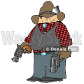 Smiling Cowboy Holding Two Loaded Guns Clipart Picture © djart #5940