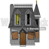 Boarded-up Haunted House Clipart Picture © Dennis Cox #5945